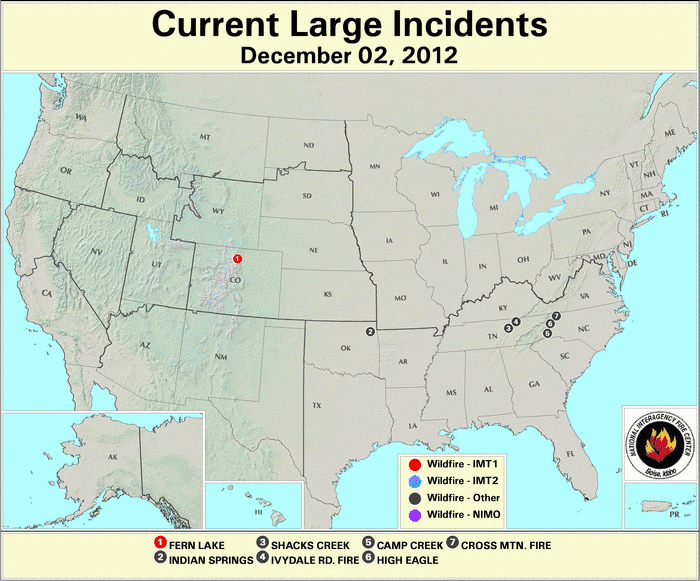 U.S. Large Wildfires 2 December 2012