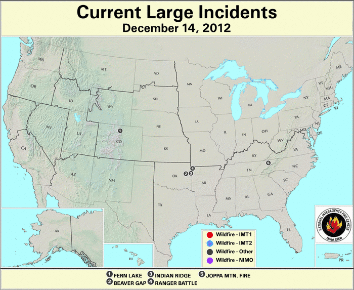 U.S. Large Wildfires 14 December 2012