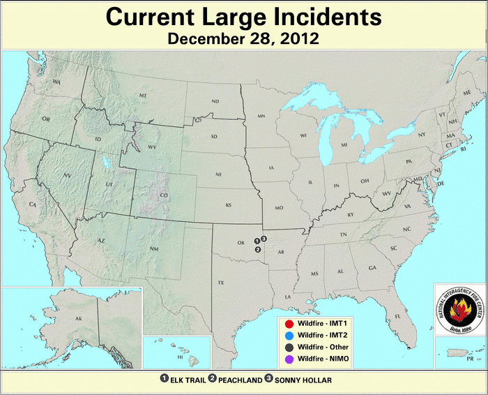 U.S. Large Wildfires 28 December 2012