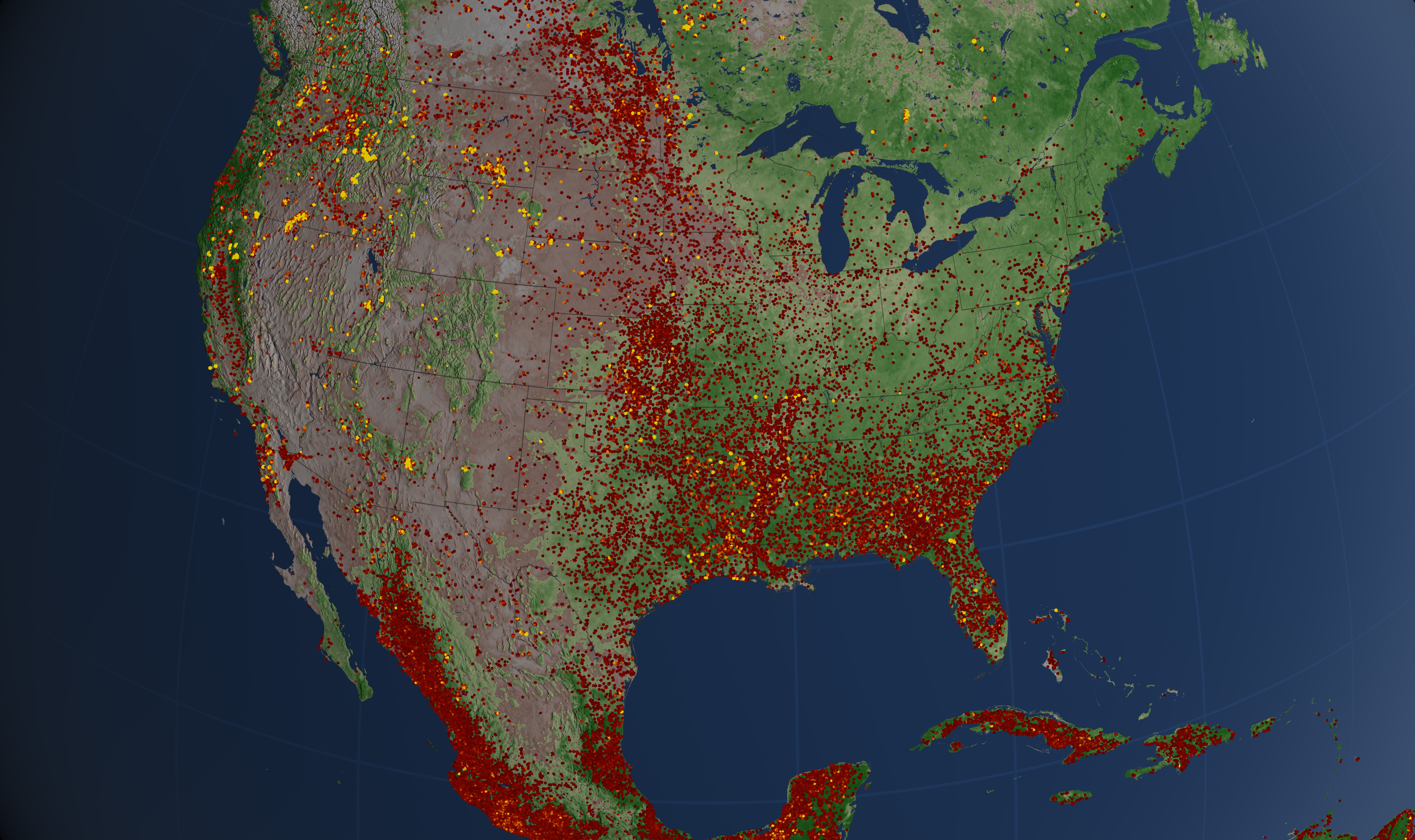 Cumulative wildfires and prescribed burns for contiguous U.S. from January through October 2012