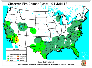 Fire Danger Map for January 1