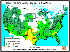 Fire Danger Map for January 31