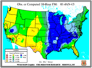10-hr Fuel Moisture Map for January 1