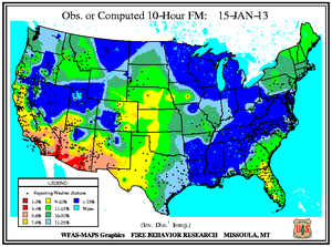 10-hr Fuel Moisture Map for January 15