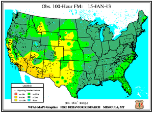100-hr Fuel Moisture Map for January 15