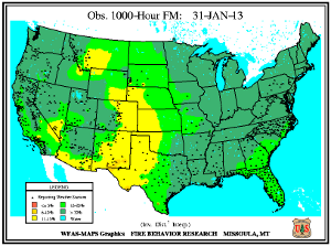 1000-hr Fuel Moisture Map for January 31