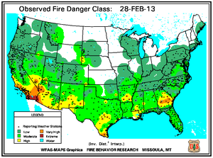 Fire Danger Map for February 28
