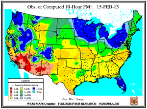 10-hr Fuel Moisture Map for February 15