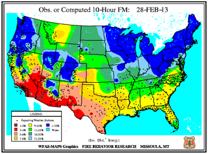 10-hr Fuel Moisture Map for February 28