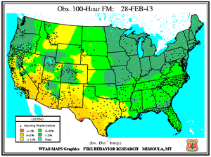 100-hr Fuel Moisture Map for February 28