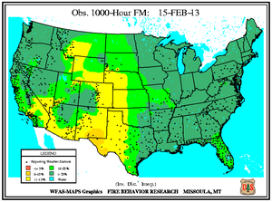 1000-hr Fuel Moisture Map for February 15