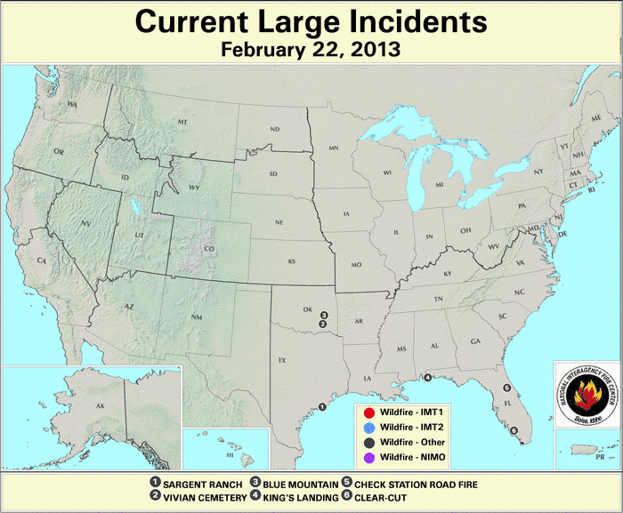 U.S. Large Wildfires 22 February 2013