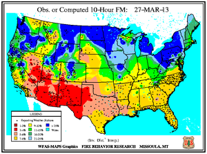 10-hr Fuel Moisture Map for March 27