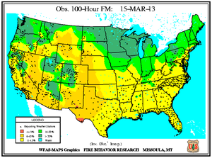 100-hr Fuel Moisture Map for March 15