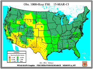 1000-hr Fuel Moisture Map for March 15