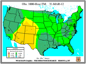 1000-hr Fuel Moisture Map for March 31