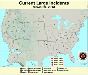 U.S. Large Wildfires 29 March 2013