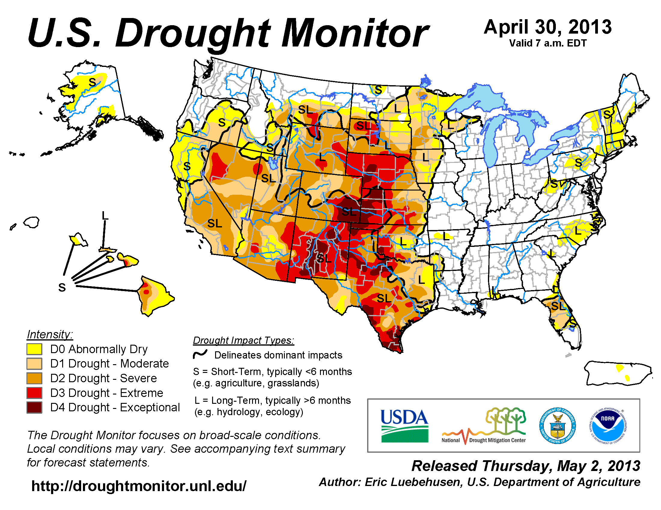 U.S. Drought Monitor map from 2 April 2013
