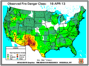 Fire Danger Map for March 15