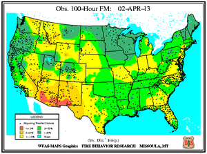 100-hr Fuel Moisture Map for March 1