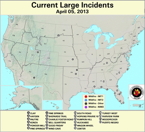 U.S. Large Wildfires 8 March 2013