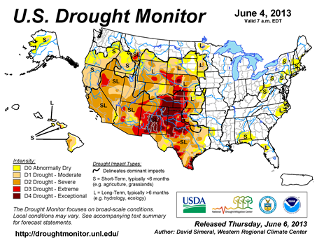 U.S. Drought Monitor map from 6 June 2013