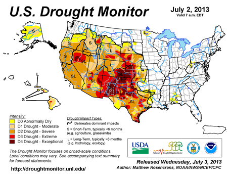 U.S. Drought Monitor map from 2 July  2013
