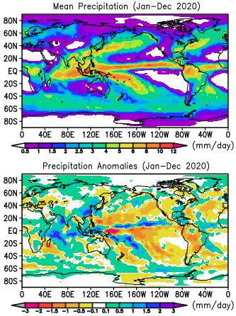 2020 GPCP precipitation anomalies