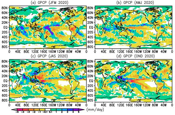 2020 quarterly GPCP precipitation anomalies