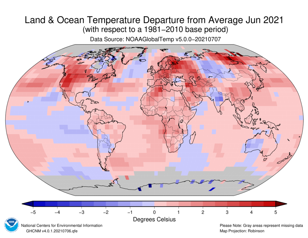 June 2021 Blended Land and Sea Surface Temperature Anomalies in degrees Celsius