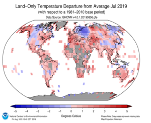 Global Land Mean Temp Anomaly Map