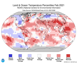 Global Land & Ocean Temp Percentile Map