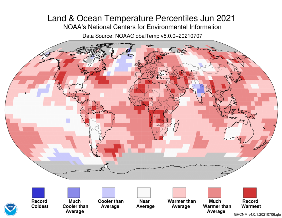 June 2021 Blended Land and Sea Surface Temperature Percentiles