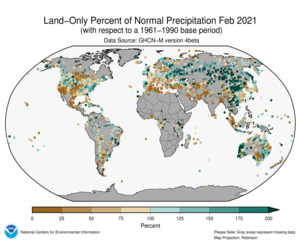 Global Land Percent of Normal Precip Map