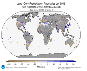 Global Land Precipitation Anomalies Map