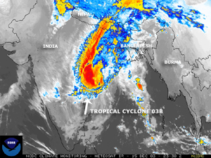 Visible satellite image of Tropical Cyclone 03B on December 15, 2003