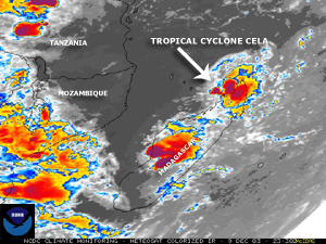 Infrared satellite image of Tropical Cyclone Cela over northern Madagascar on December 9, 2003
