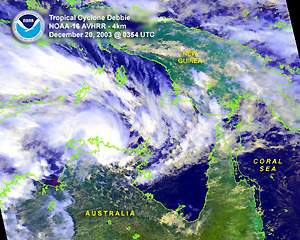 Infrared satellite image of Tropical Cyclone Cela Debbie