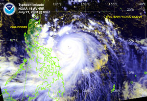 Satellite image of Typhoon Imbudo on July 21, 2003