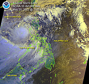 Click here a satellite image of Tropical Storm Linfa near the Philippines on May 27, 2003
