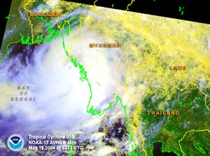 Satellite image of Tropical Cyclone 02B near Burma on May 19, 2004