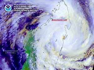Satellite image of Tropical Cyclone Ivan on 17 February 2008