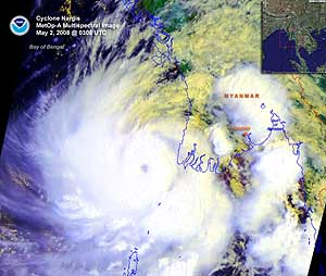 Satellite image of Tropical Cyclone Nargis on 2 May 2008