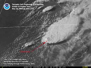 Satellite image of Tornadic Cell on 25 May 2008
