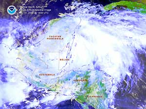 Satellite image of Tropical Storm Arthur on 31 May 2008