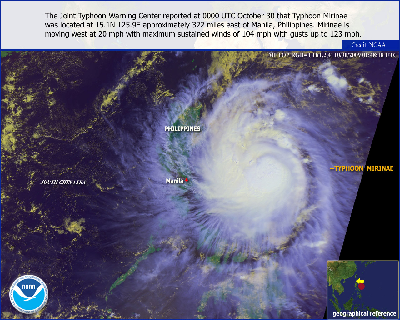 Typhoon Mirinae October 30th