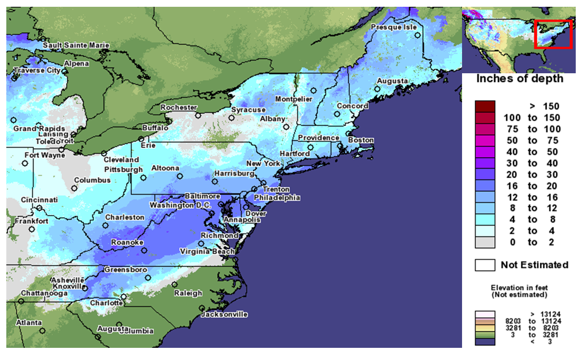Global Hazards December  State Of The Climate National - Us snowfall map 2009