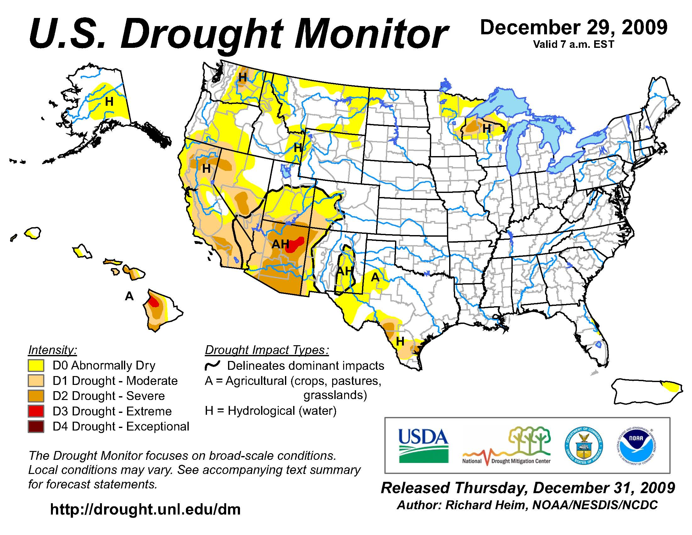 US Drought Monitor on 29 December 2009