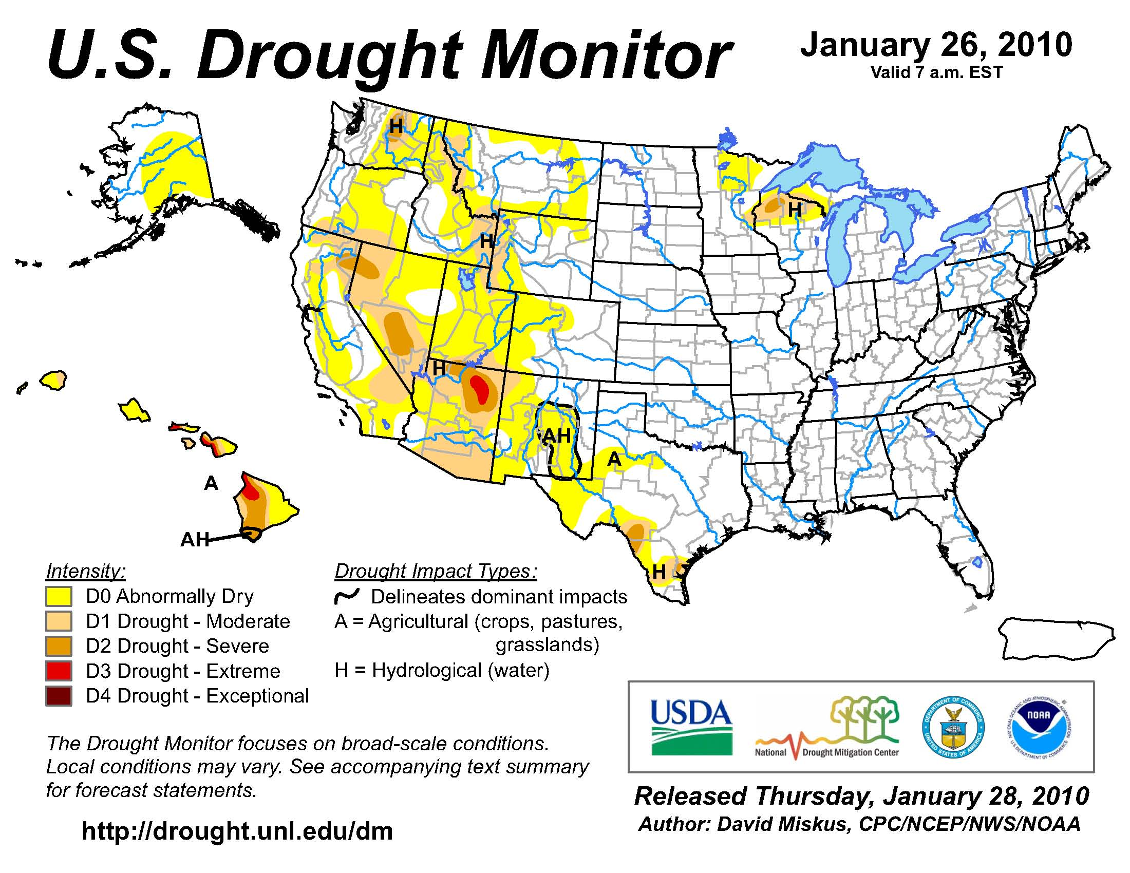 U.S. Drought Monitor map from 26 January 2010