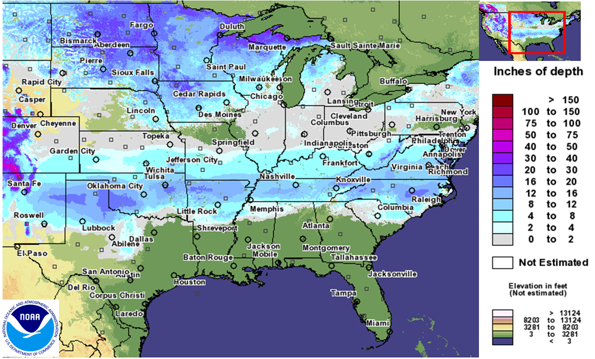 National Snow Ice January State Of The Climate - Us snow cover map noaa